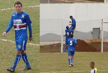 Thiago Fenômeno no detalhe. E Edu, autor do gol comemorando no alambrado do lado errado, longe da torcida.