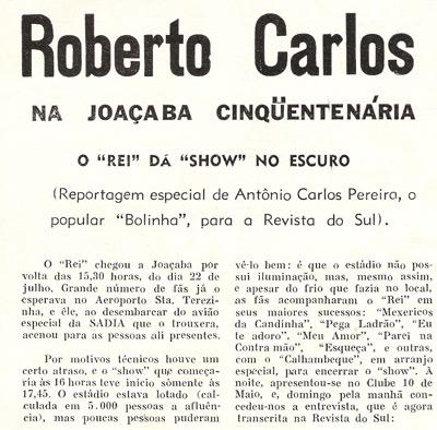 Trecho da matéria publicada na Revista do Sul, que comenta o show às escuras no Da Nova.  Arquivo Bolinha