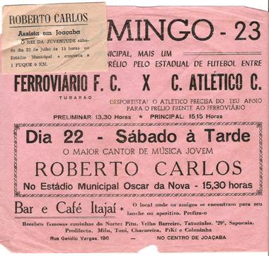 Panfleto do Show e do jogo no dia seguinte. Arquivo de Antonio Carlos Pereira (Bolinha)